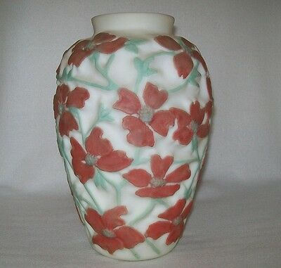 "Red Floral Consolidated Phoenix Glass Sculptured Art Ware DOGWOOD VASE 11"" Tall"