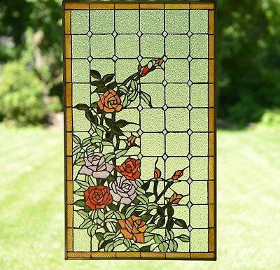 """sold out! Tiffany Style stained glass window panel Rose Flowers , 20"""" x 34"""""""