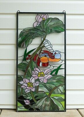 "2 Mandarin Ducks Birds Lotus Tiffany Style Stained Glass Window Panel,16"" x 32"""