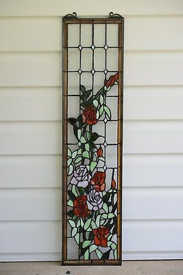 "9"" x 36"" Rose Flowers Tiffany Style stained glass window panel"
