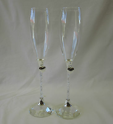 Wedding Bridal Toasting Champagne Glasses Flutes Crystal Beads Stem Silver Heart