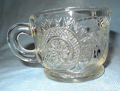 Set of 7 1908 Pattern Glass Handled Punch Cups by US Glass in Radiant Daisy