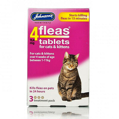 Johnsons 4fleas Tablets For Cat & Kitten Starts Killing Fleas in 15min 3 tablets