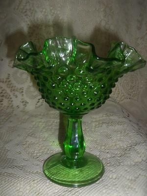 Vintage Emerald Green Fenton Hobnail Glass Crimped Ruffle Rim Pedestal Compote
