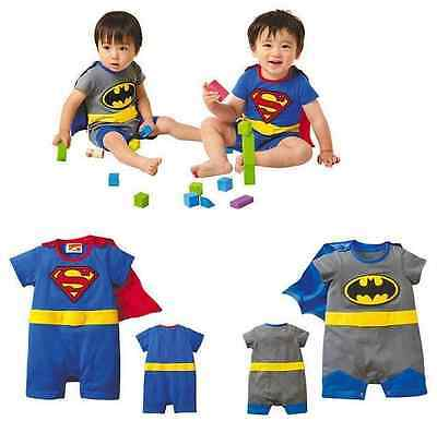 Cute Superman Batman Baby Toddler Fancy Dress Outfit Romper Suit Costume Gift