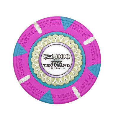 25 Pink $5000 The Mint 13.5g Clay Casino Poker Chips New - Buy 2, Get 1 Free