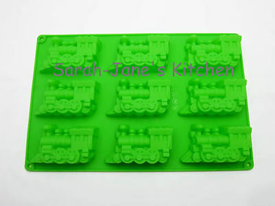 9 GREEN Train Engine Silicone Bakeware Cake Jelly Ice Kids Mould Pan Birthday