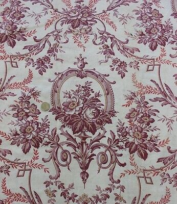 "Antique 19thC Floral & Scroll Toile Chateau Panel~1yd35""LX31""W~Pillows,Frame"