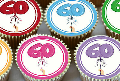 24 x 60 GLOBO CUMPLEAÑOS TOPPERS COMESTIBLES PARA CUPCAKE TARTA