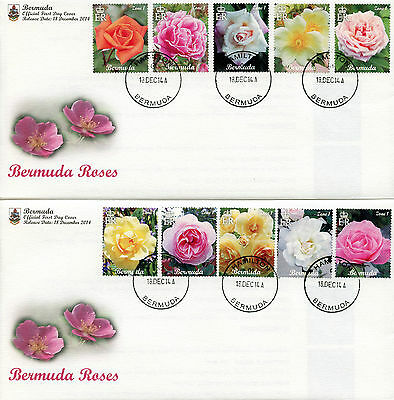 Bermuda 2014 FDC Bermuda Roses 10v Set on 2 Covers Flowers Flora Nature