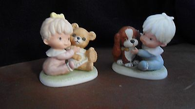 "Homco Figurine 1424 Baby Girl with Teddy Bear 4""& 1424 Baby Boy with Dog"