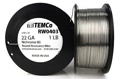 TEMCo Nichrome 80 series wire 22 Gauge 1 lb (546ft) Resistance AWG ga