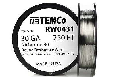 TEMCo Nichrome 80 series wire 30 Gauge 250 FT Resistance AWG ga
