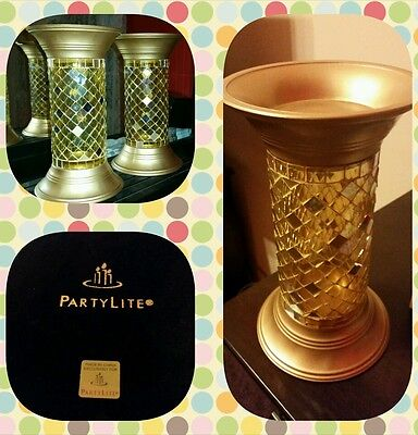 "PartyLite Rare Gold Mosaic TWO (2) 11"" Pillars RETIRED"