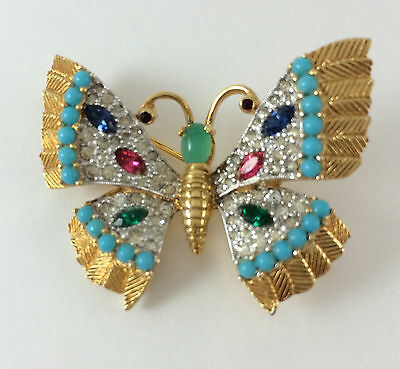 Vintage Butterfly Brooch Pin Signed Jomaz