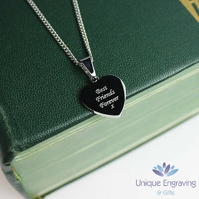 Personalised Photo / Text Engraved Mini Heart Pendant - Wedding Valentine's Day
