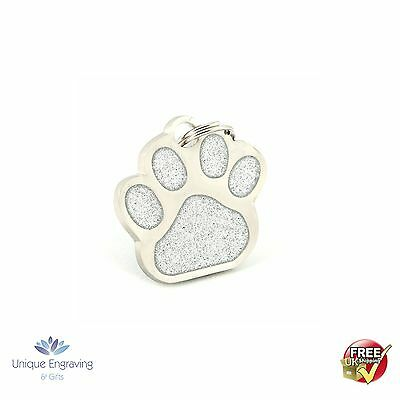 Personalised Premium Engraved Pet Tags DOG CAT ID - Silver Glitter Paw