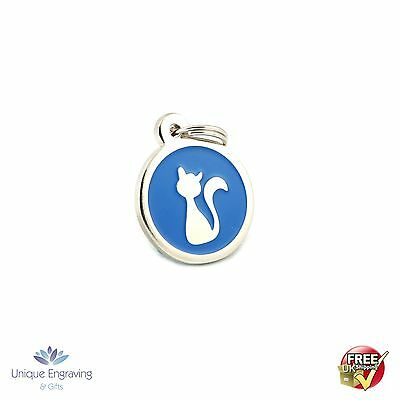 Personalised Premium Engraved Pet Tags CAT ID- Blue Enamel Kitty Tag Free UK P/P