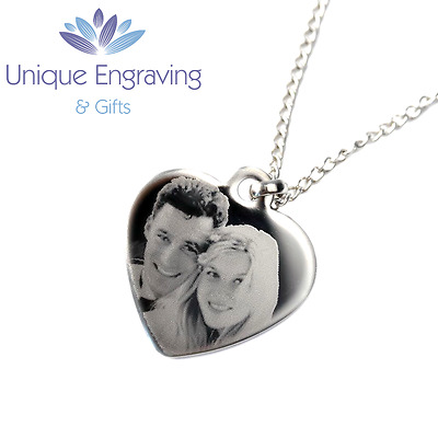 Personalised Photo/Text Engraved Heart Necklace Pendant - Great Gift Idea!
