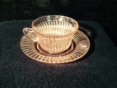 Pink Depression Glass Coffee/Tea Cup & Saucer - Ribbed look