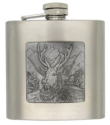 Personalised Engraved 6oz Stainless Steel Hip Flask with Pewter Stag Scene