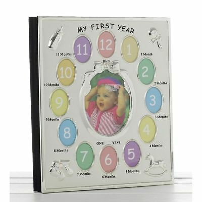 Silver Colour ' My First Year ' Photo Album Babys First Birthday Christening