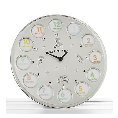 My First Year Clock 12 Photo Frame Babys First Birthday Christening Gift