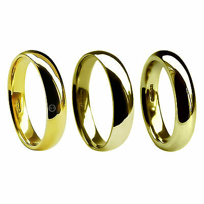 6mm 18ct Yellow Gold Wedding Rings Court Comfort UK HM Med. Heavy & X Heavy Band