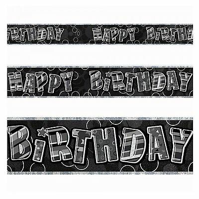 12ft Black Happy Birthday Banner Glitz Foil Party Decorations Any Age Banner
