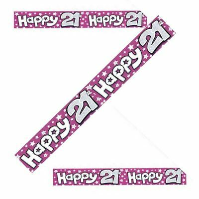 2.6m Pink 21st Birthday Holographic Foil Banner Party Decoration Party Supply