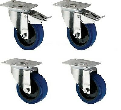 "Heavy Duty Dolly Skate Elastic Rubber Castors, 4-Pack (100MM/4"")"