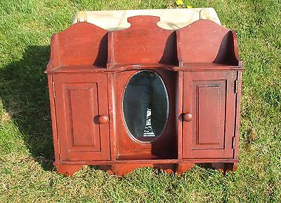 Antique Carved Wood medicine  bathroom Cabinet Apothecary Oval Mirror Painted