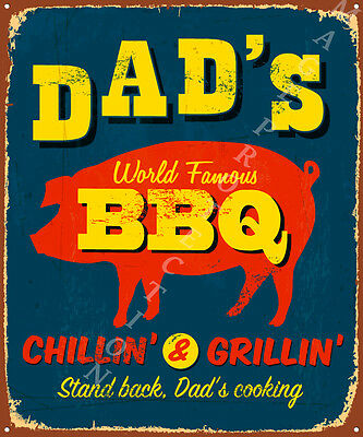 Metal Wall Plaque Sign Board  DADS BBQ CHILLIN GRILLIN 30 X 40cm Fathers Day