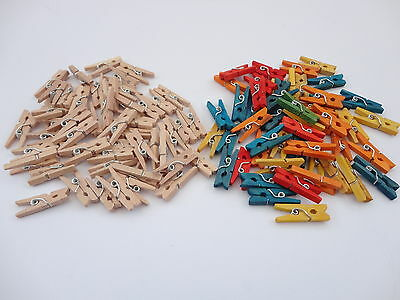Small Wooden Craft Mini Pegs - Natural Or Coloured - Card Making Kids Art Craft