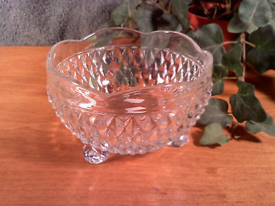 Indiana Glass Clear Pressed diamond point Glass Candy Dish 3 footed vintage