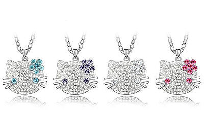 18K White Gold Plated Hello Kitty Pendant Necklace made with Swarovski Crystals