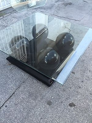 Chic Large Modernist 4 Faux Marble Balls On Black Lacquer Plinth Coffee Table
