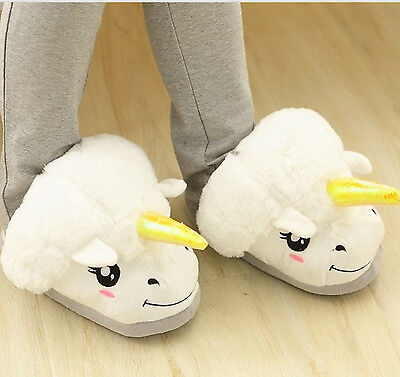Rare Collect White Unicorn Soft Plush Indoor Slippers Shoes Christmas One Size