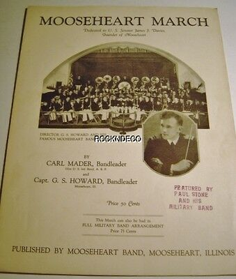 1932 Mooseheart March Sheet Music Carl Mader Capt GS Howard Moose IL WJJD