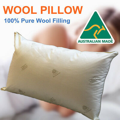 Aus Made Premium Quality 100% Wool Pillow/900GM Australia Wool Filling/45x70cm