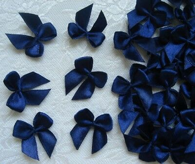 "1-1/8"" Wide Navy (Dark Blue) Satin Ribbon Bows Craft DIY- 50 pcs -R0026D"