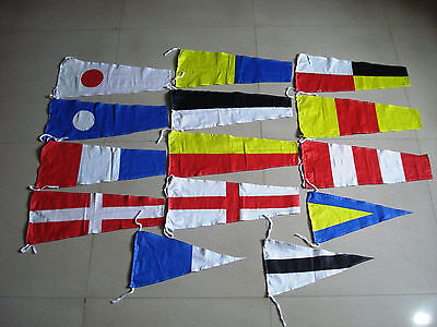 """Naval Signal Pennants - 20"""" X 8.5"""" - Total 14 Flags- BOTH SIDED - FREE SHIPPING"""