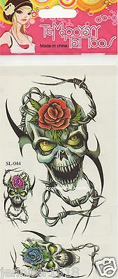 Sticker Tatouage Autocollant Temporaire Tattoo Gf490 Tete De Mort