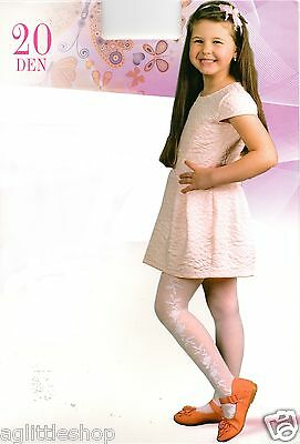Girls White Tights with Roses on the Side, 20 denier,  Age: 6 yrs to 13 yrs