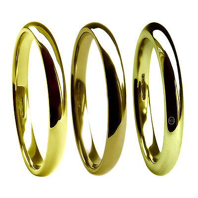 2mm 18ct Yellow Gold Wedding Rings Court Comfort UK HM 750 M Hvy & X Heavy Band