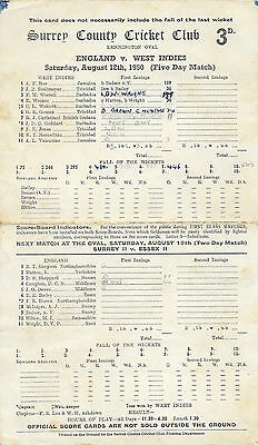 1950 - England v West Indies, 4th Test Match (The Oval) Scorecard