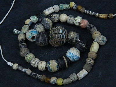 Ancient Islamic Glass Beads Strand C.1000 AD  #BE275