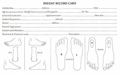 Chiropody Patient Record Cards - Detailed  - Podiatry Feet Record Cards