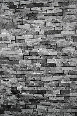 Thin Stone Effect Wallpaper. Light Grey Brick Style. Made In Germany. 46-30
