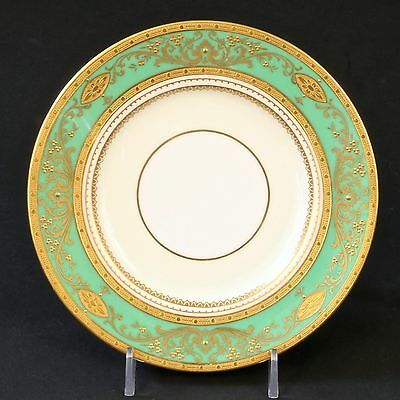 12 Minton for Tiffany Gilded Small Green Plates: gold encrusted, gold beading